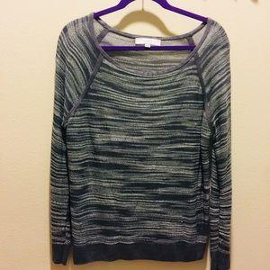 LOFT gray/white stripe sweater